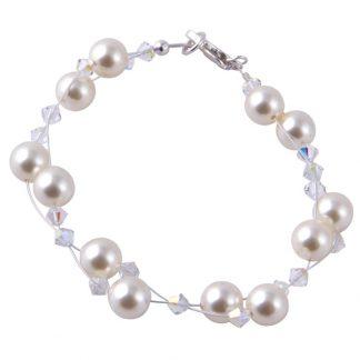 Swarovski Pearls / Crystals weaved Bracelet Cream