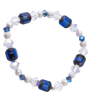 Swarovski/ European Glass Bracelet Dark Blue