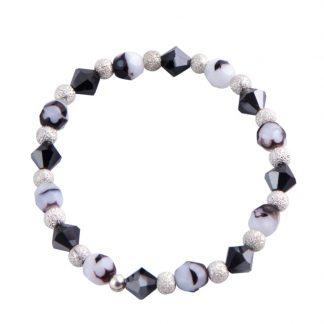 Swarovski/ European Glass Bracelet Black & white
