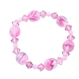 Swarovski/ European Glass Bracelet Pink Stripes