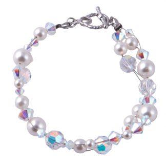 Swarovski Pearls / Crystals weaved Bracelet Cream / white