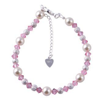 Sterling Silver Swarovski Pearl Bracelet Light Pink ( Children size)