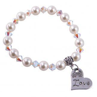 Swarovski Crystals/ Pearls white bracelet with Charm