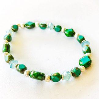 Swarovski / European Glass Bracelet Turquoise