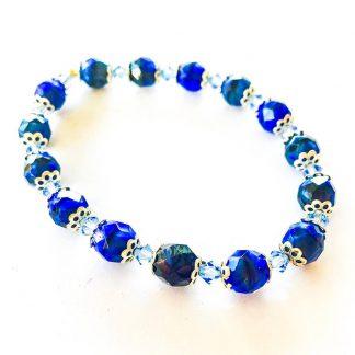 Swarovski / European Glass Bracelet Sapphire Blue