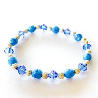 Swarovski/ European Glass Bracelet Light Sapphire blue