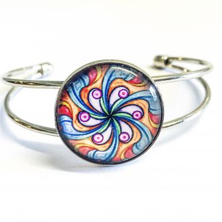 Platinum Plated Bangle adjustable with Glass Cabochon Swirly