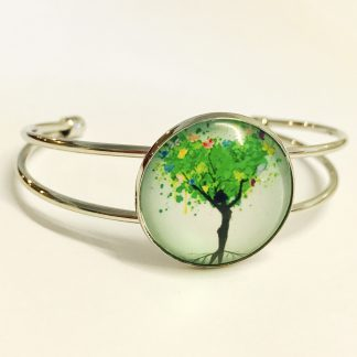 Platinum Plated Bangle adjustable with Glass Cabochon Tree of Life Woman Pose
