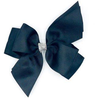 Split Tail Diamonte Hairbows Black