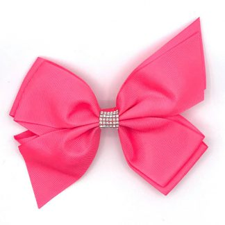 Split Tail Diamonte Hairbows Pink