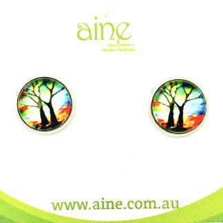 Nickel free Stud Earrings Glass Cabochon Tree of Life rainbow 10mm