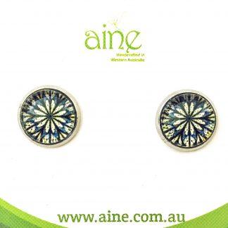 Nickel Free stud Earrings Glass Cabochon mandalla Cobalt 10mm
