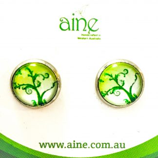 Nickel free Stud Earrings Glass Cabochon Tree of Life Greenery 12mm