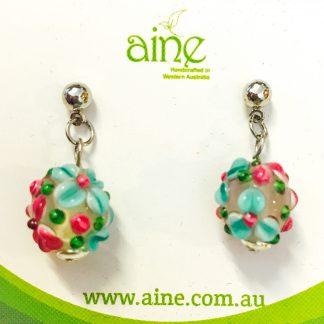 NIckel Free Stud Earrings Handmade glass Flower Aqua PInk