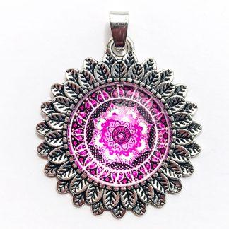 Pendant Glass Cabochon 20mm glass diametre Mandalla Tourmaline Pink