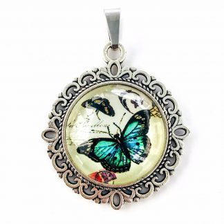 Pendant Glass Cabochon 20mm glass diametre Butterfly Aqua