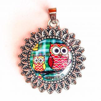 Pendant Glass Cabochon 20mm glass diametre Mother Daugther Owl