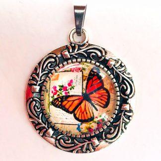 Pendant Glass Cabochon 20mm glass diametre Cottage Butterfly Orange