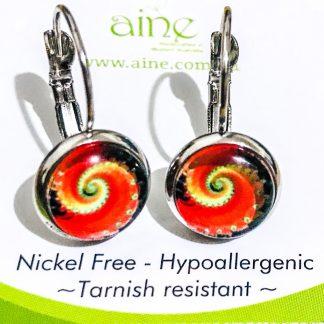 Nickel Free European Style earrings glass Cabochon 10mm Butterfly Garden