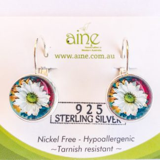 925 Sterling Silver Earrings Glass Cabochon Tree Of Life Bubble