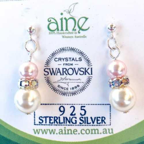 925 Sterling silver Swarovski Pearl Stud Earrings Pink/Cream