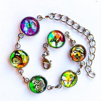 Bracelet Glass Cabochon Platinum Plated Zen Stone