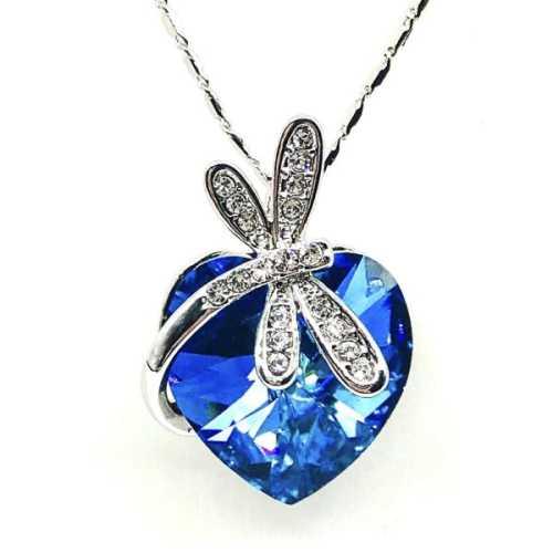 f355a6b999731 Swarovski Crystal Pendant Dragonfly Love Heart Bermuda Blue