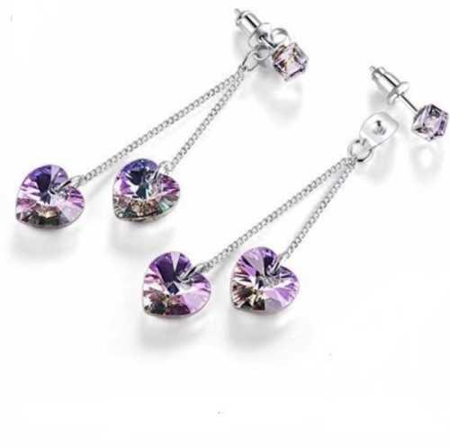 7a2ca0b65 LIMITED! 925 Sterling silver Swarovski Crystal Long Earrings Cube ...