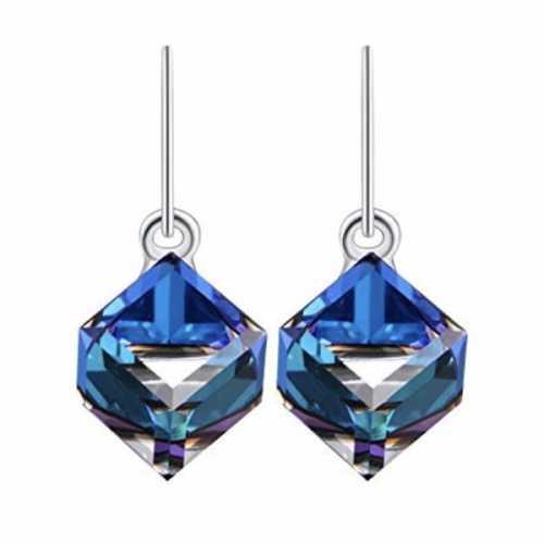 b7e51a5a0d5d1 LIMITED! 925 Sterling silver Swarovski Crystal Drop Earrings Cube 10mm